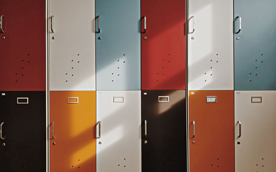 Multi-colored gym lockers