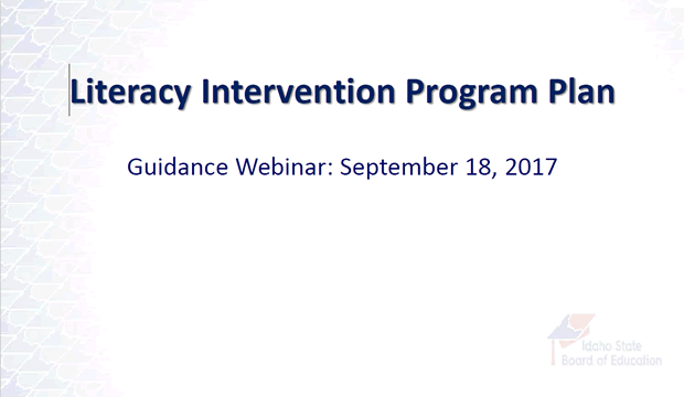 Literacy Intervention Plan Webinar